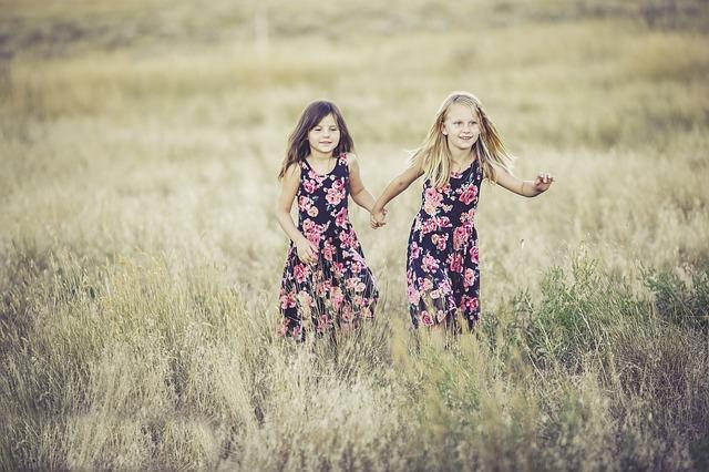 holčičky, šaty, pole, louka